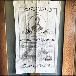 Unused Vintage Pure Linen Tea Towel Captain Hahn's Memorial Hahndorf
